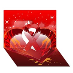 Heart Ribbon 3d Greeting Card (7x5)