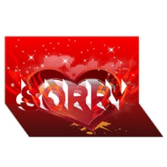 Heart Sorry 3d Greeting Card (8x4)