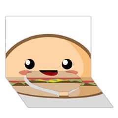 Kawaii Burger Heart Bottom 3d Greeting Card (7x5)  by KawaiiKawaii