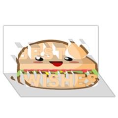Kawaii Burger Best Wish 3d Greeting Card (8x4)  by KawaiiKawaii