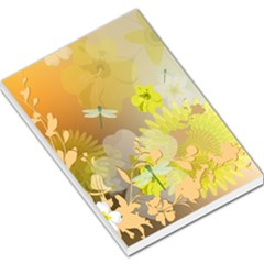 Beautiful Yellow Flowers With Dragonflies Large Memo Pads