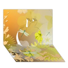 Beautiful Yellow Flowers With Dragonflies Apple 3d Greeting Card (7x5)  by FantasyWorld7