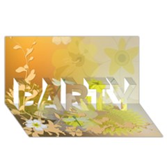 Beautiful Yellow Flowers With Dragonflies Party 3d Greeting Card (8x4)  by FantasyWorld7