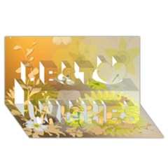Beautiful Yellow Flowers With Dragonflies Best Wish 3d Greeting Card (8x4)  by FantasyWorld7