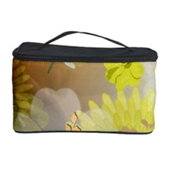 Beautiful Yellow Flowers With Dragonflies Cosmetic Storage Cases by FantasyWorld7