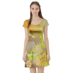 Beautiful Yellow Flowers With Dragonflies Short Sleeve Skater Dresses