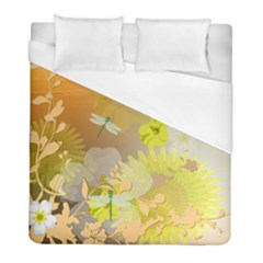 Beautiful Yellow Flowers With Dragonflies Duvet Cover Single Side (twin Size) by FantasyWorld7