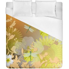 Beautiful Yellow Flowers With Dragonflies Duvet Cover Single Side (double Size) by FantasyWorld7
