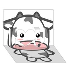 Kawaii Cow I Love You 3d Greeting Card (7x5)  by KawaiiKawaii