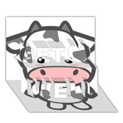Kawaii Cow Get Well 3d Greeting Card (7x5)  by KawaiiKawaii