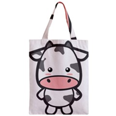 Kawaii Cow Zipper Classic Tote Bags by KawaiiKawaii
