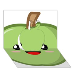 Kawaii Green Apple Apple 3d Greeting Card (7x5)
