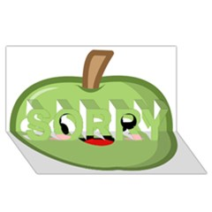 Kawaii Green Apple Sorry 3d Greeting Card (8x4)  by KawaiiKawaii