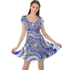 Bright Blue Abstract  Cap Sleeve Dresses