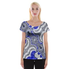 Bright Blue Abstract  Women s Cap Sleeve Top
