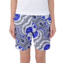 Bright Blue Abstract  Women s Basketball Shorts by OCDesignss