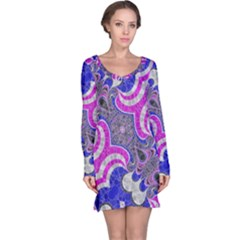 Pink Black Blue Abstract  Long Sleeve Nightdresses by OCDesignss