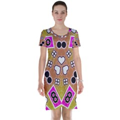 Pink Black Yellow Abstract  Short Sleeve Nightdresses by OCDesignss