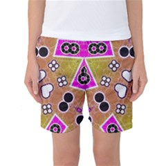 Pink Black Yellow Abstract  Women s Basketball Shorts by OCDesignss