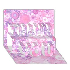 Lovely Allover Ring Shapes Flowers Pink Thank You 3d Greeting Card (7x5)