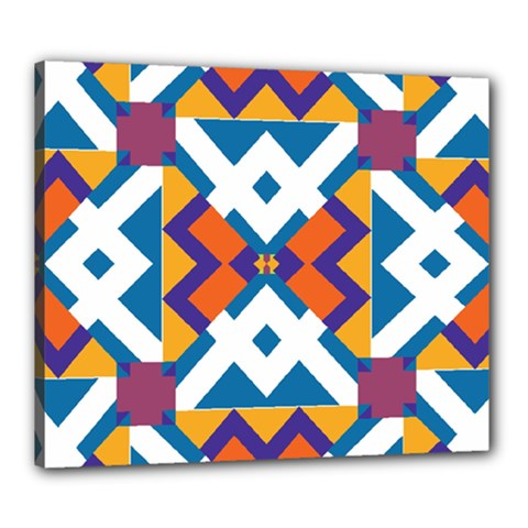 Shapes In Rectangles Pattern Canvas 24  X 20  (stretched) by LalyLauraFLM