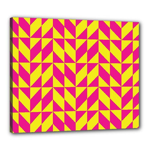 Pink And Yellow Shapes Pattern Canvas 24  X 20  (stretched) by LalyLauraFLM