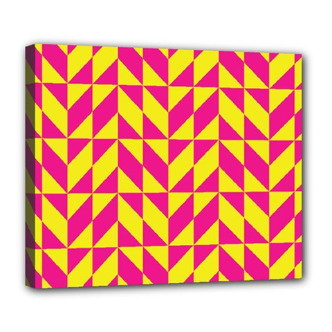 Pink And Yellow Shapes Pattern Deluxe Canvas 24  X 20  (stretched) by LalyLauraFLM