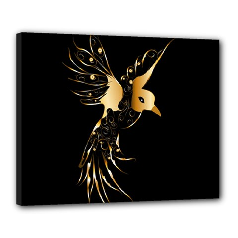 Beautiful Bird In Gold And Black Canvas 20  X 16