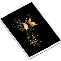 Beautiful Bird In Gold And Black Large Memo Pads by FantasyWorld7