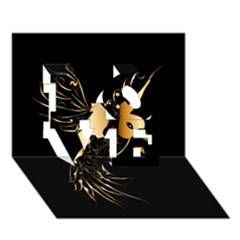 Beautiful Bird In Gold And Black Love 3d Greeting Card (7x5)  by FantasyWorld7