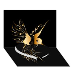 Beautiful Bird In Gold And Black Heart Bottom 3d Greeting Card (7x5)  by FantasyWorld7