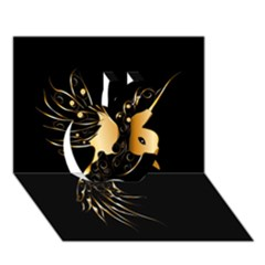 Beautiful Bird In Gold And Black Apple 3d Greeting Card (7x5)