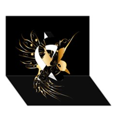Beautiful Bird In Gold And Black Ribbon 3d Greeting Card (7x5)  by FantasyWorld7