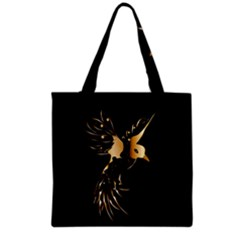 Beautiful Bird In Gold And Black Grocery Tote Bags