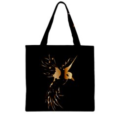 Beautiful Bird In Gold And Black Zipper Grocery Tote Bags