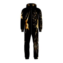 Beautiful Bird In Gold And Black Hooded Jumpsuit (kids)
