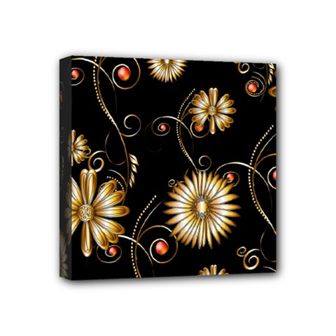 Golden Flowers On Black Background Mini Canvas 4  X 4  by FantasyWorld7