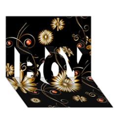 Golden Flowers On Black Background Boy 3d Greeting Card (7x5)