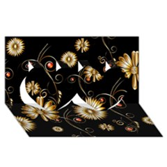 Golden Flowers On Black Background Twin Hearts 3d Greeting Card (8x4)