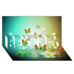 Flowers With Wonderful Butterflies Best Bro 3d Greeting Card (8x4)