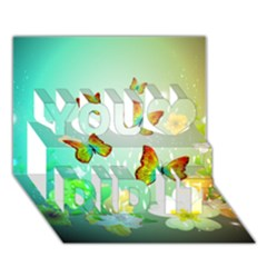 Flowers With Wonderful Butterflies You Did It 3d Greeting Card (7x5) by FantasyWorld7
