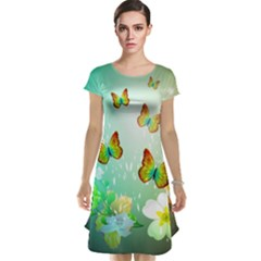 Flowers With Wonderful Butterflies Cap Sleeve Nightdresses by FantasyWorld7
