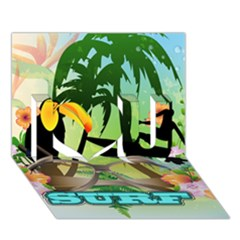 Surfing I Love You 3d Greeting Card (7x5)  by FantasyWorld7
