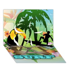 Surfing Clover 3d Greeting Card (7x5)  by FantasyWorld7