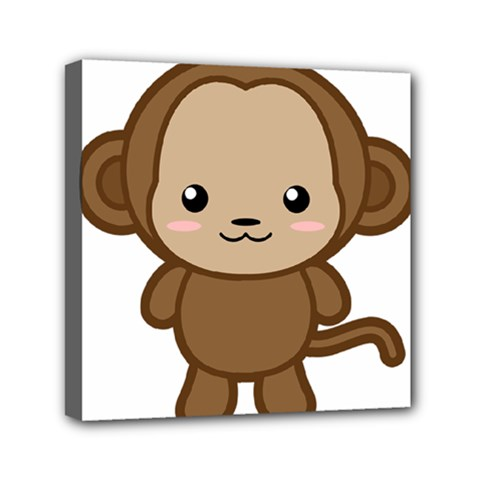 Kawaii Monkey Mini Canvas 6  X 6  by KawaiiKawaii