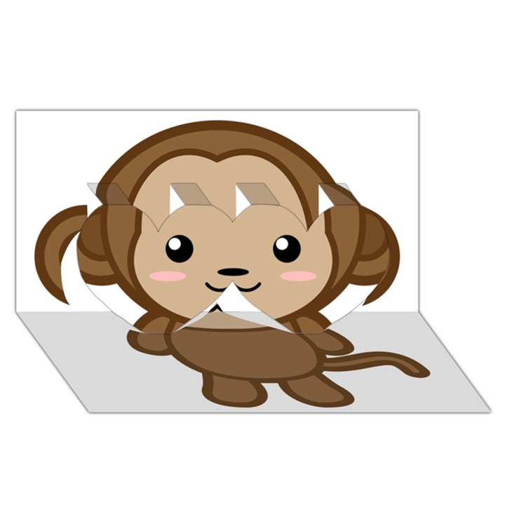 Kawaii Monkey Twin Hearts 3D Greeting Card (8x4)
