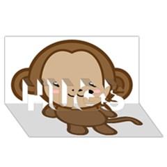 Kawaii Monkey Hugs 3d Greeting Card (8x4)  by KawaiiKawaii