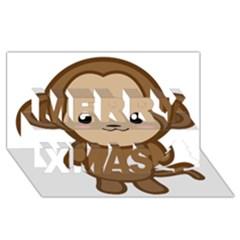 Kawaii Monkey Merry Xmas 3d Greeting Card (8x4)  by KawaiiKawaii