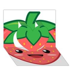 Kawaii Strawberry Heart 3d Greeting Card (7x5)