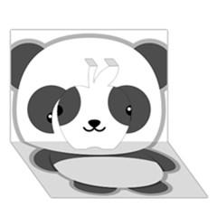 Kawaii Panda Apple 3d Greeting Card (7x5)  by KawaiiKawaii